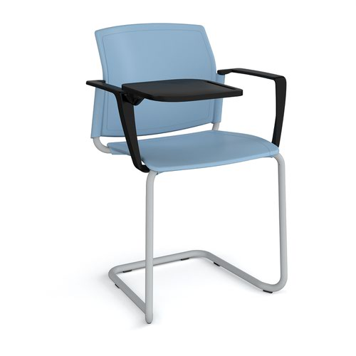 Santana cantilever chair with plastic seat and back and grey frame with arms and writing tablet - blue