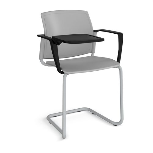 Santana cantilever chair with plastic seat and back and grey frame with arms and writing tablet - grey