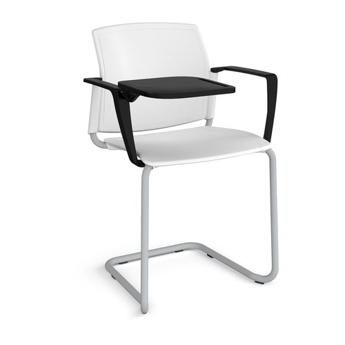 Santana cantilever chair with plastic seat and back and grey frame with arms and writing tablet - white