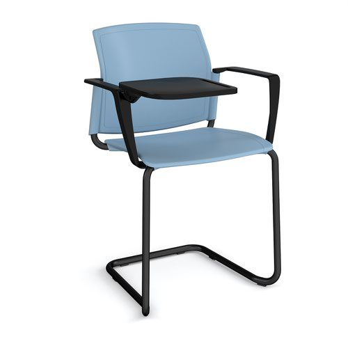 Santana cantilever chair with plastic seat and back and black frame with arms and writing tablet - blue