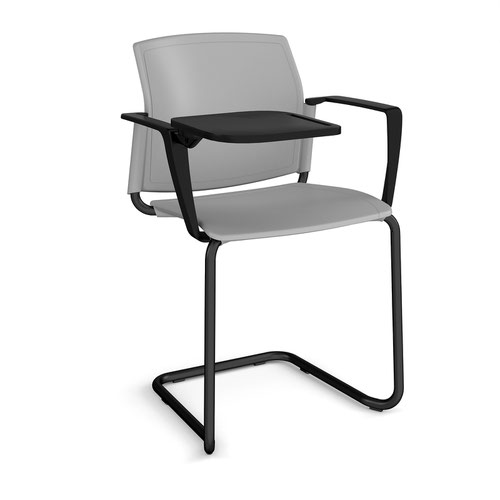 Santana cantilever chair with plastic seat and back and black frame with arms and writing tablet - grey