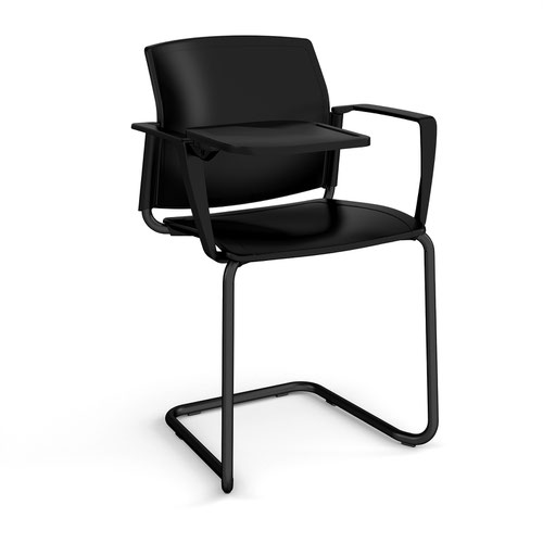 Santana cantilever chair with plastic seat and back and black frame with arms and writing tablet - black