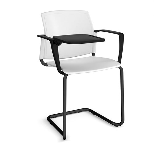 Santana cantilever chair with plastic seat and back and black frame with arms and writing tablet - white