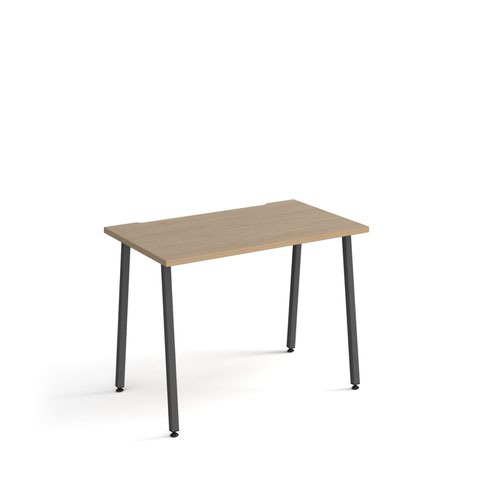 Sparta straight desk 1000mm x 600mm with A-frame legs - charcoal frame and oak top