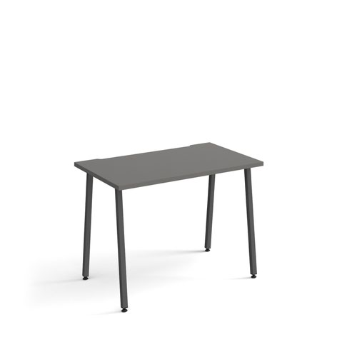 Sparta straight desk 1000mm x 600mm with A-frame legs - charcoal frame and grey top