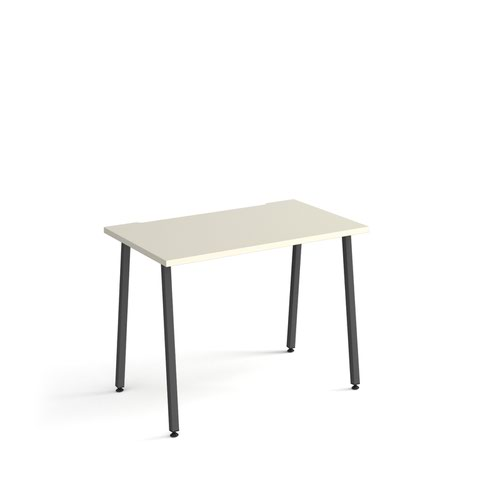 Sparta straight desk 1000mm x 600mm with A-frame legs - charcoal frame and white top