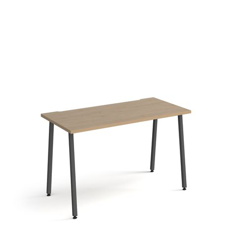 Sparta straight desk 1200mm x 600mm with A-frame legs - charcoal frame, oak top