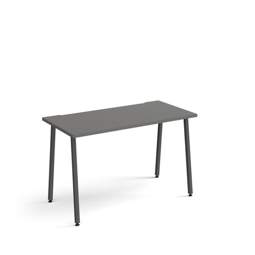 Sparta straight desk 1200mm x 600mm with A-frame legs - charcoal frame and grey top