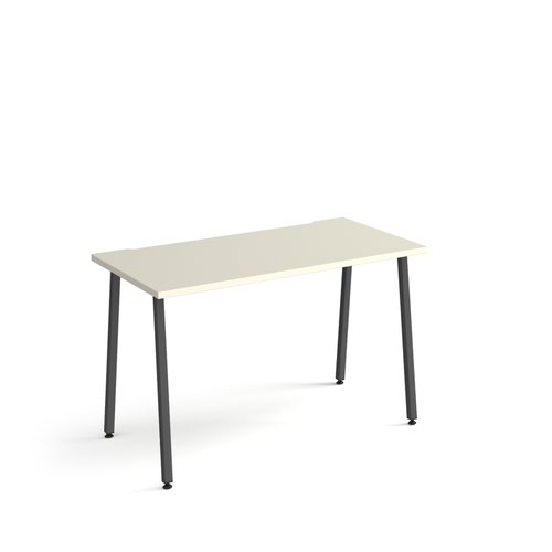 Sparta straight desk 1200mm x 600mm with A-frame legs - charcoal frame and white top