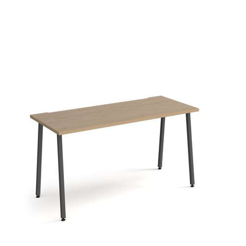 Sparta straight desk 1400mm x 600mm with A-frame legs - charcoal frame and oak top
