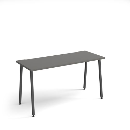 Sparta straight desk 1400mm x 600mm with A-frame legs - charcoal frame and grey top
