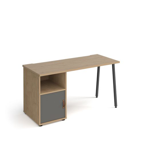 Sparta straight desk 1400mm x 600mm with A-frame leg and support pedestal with cupboard door - charcoal frame, oak finish with grey door