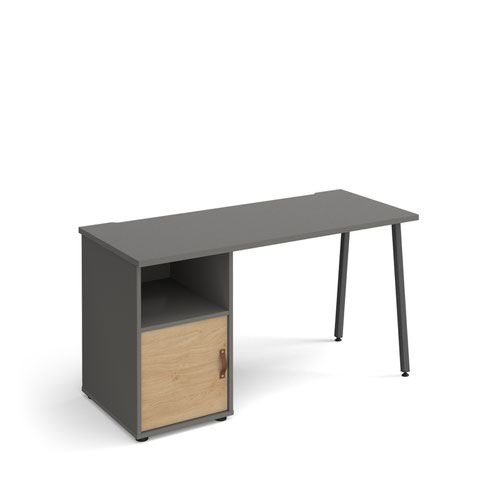 Sparta straight desk 1400mm x 600mm with A-frame leg and support pedestal with cupboard door - charcoal frame, grey finish with oak door