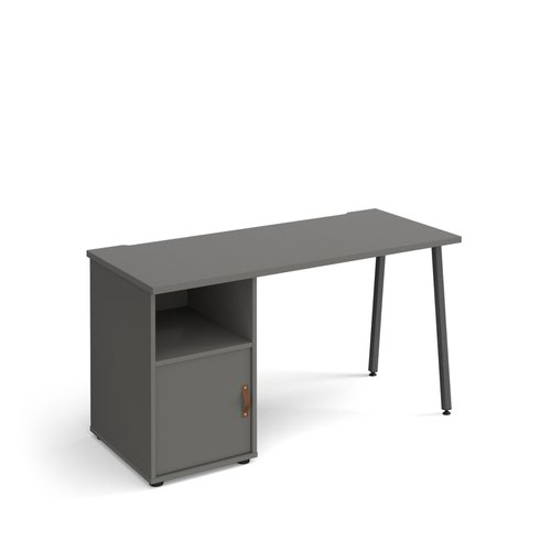Sparta straight desk 1400mm x 600mm with A-frame leg and support pedestal with cupboard door - charcoal frame and grey finish with grey door