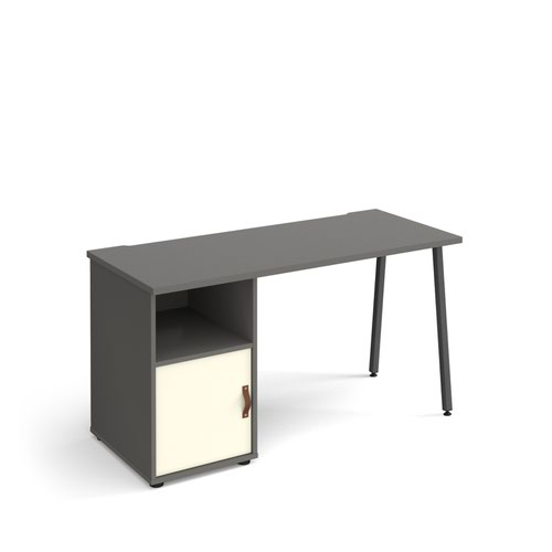 Sparta straight desk 1400mm x 600mm with A-frame leg and support pedestal with cupboard door - charcoal frame, grey finish with white door