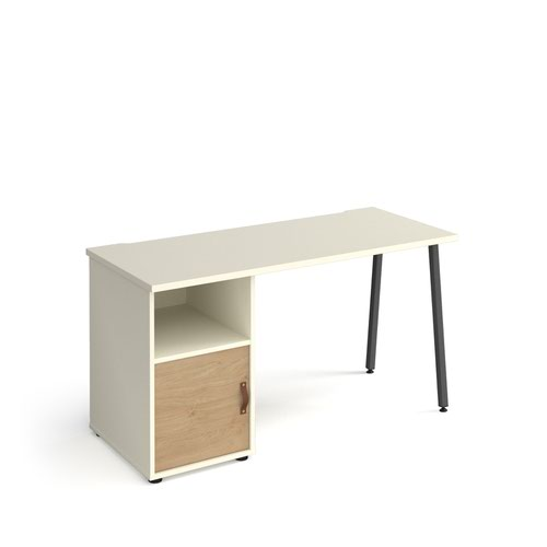 Sparta straight desk 1400mm x 600mm with A-frame leg and support pedestal with cupboard door - charcoal frame, white finish with oak door