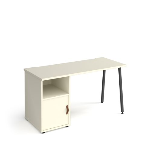 Sparta straight desk 1400mm x 600mm with A-frame leg and support pedestal with cupboard door - charcoal frame, white finish with white door