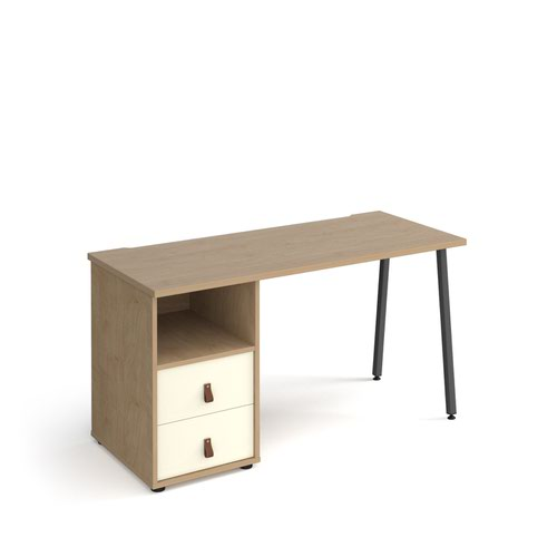 Sparta straight desk 1400mm x 600mm with A-frame leg and support pedestal with drawers - charcoal frame and oak finish with white drawers