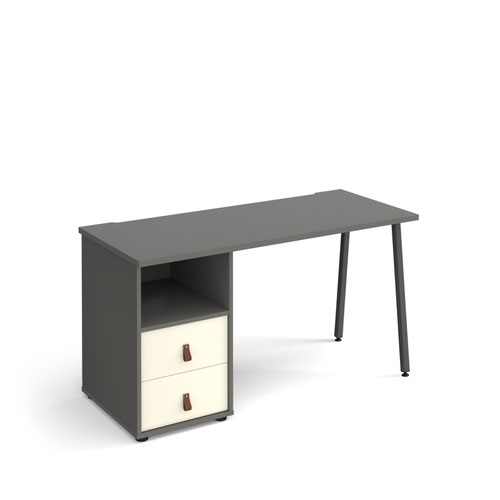 Sparta straight desk 1400mm x 600mm with A-frame leg and support pedestal with drawers - charcoal frame and grey finish with white drawers