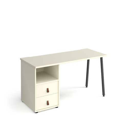 Sparta straight desk 1400mm x 600mm with A-frame leg and support pedestal with drawers - charcoal frame and white finish with white drawers