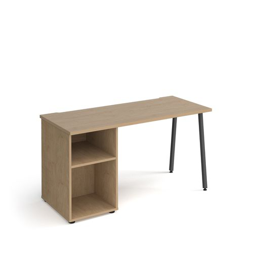 Sparta straight desk 1400mm x 600mm with A-frame leg and support pedestal - charcoal frame and oak top