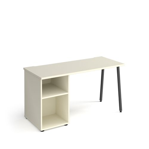 Sparta straight desk 1400mm x 600mm with A-frame leg and support pedestal - charcoal frame and white top