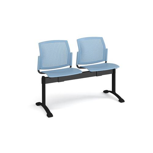 Santana perforated back plastic seating - bench 2 wide with 2 seats - blue