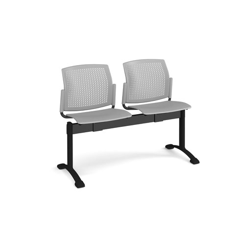 Santana perforated back plastic seating - bench 2 wide with 2 seats - grey