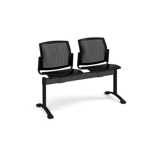 Santana perforated back plastic seating - bench 2 wide with 2 seats - black