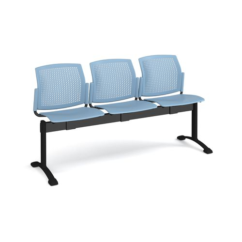 Santana perforated back plastic seating - bench 3 wide with 3 seats - blue