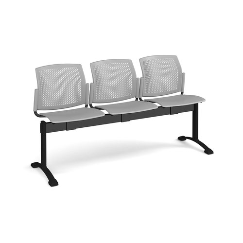 Santana perforated back plastic seating - bench 3 wide with 3 seats - grey