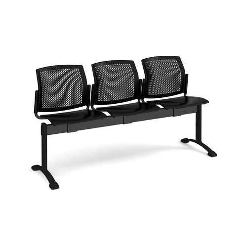 Santana perforated back plastic seating - bench 3 wide with 3 seats - black
