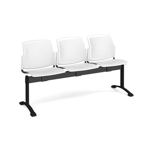 Santana perforated back plastic seating - bench 3 wide with 3 seats - white