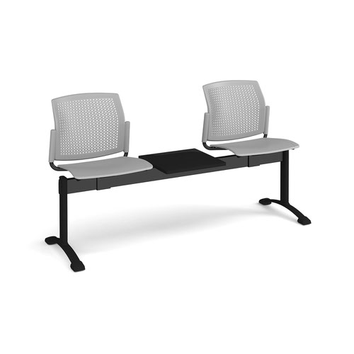 Santana perforated back plastic seating - bench 3 wide with 2 seats and table - grey