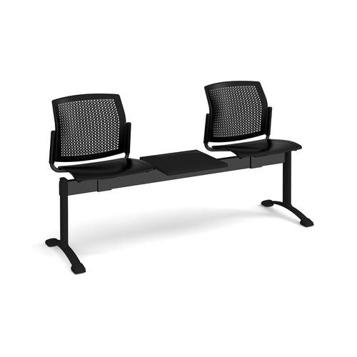 Santana perforated back plastic seating - bench 3 wide with 2 seats and table - black