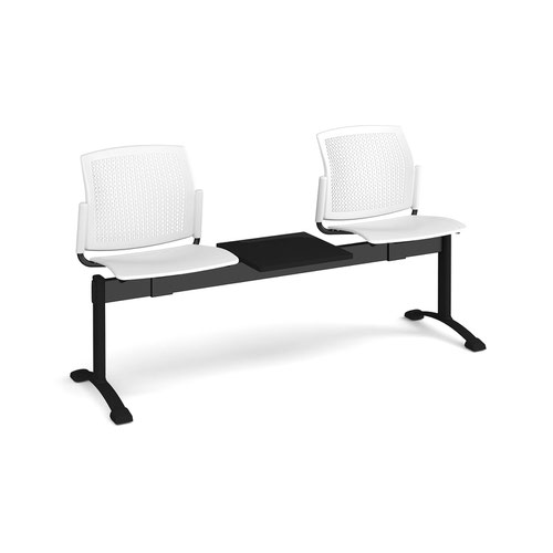 Santana perforated back plastic seating - bench 3 wide with 2 seats and table - white