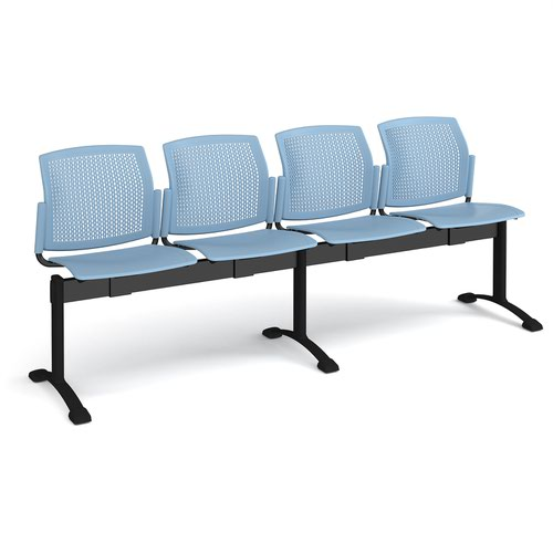 Santana perforated back plastic seating - bench 4 wide with 4 seats - blue