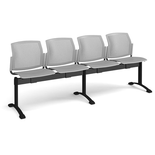 Santana perforated back plastic seating - bench 4 wide with 4 seats - grey