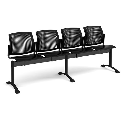 Santana perforated back plastic seating - bench 4 wide with 4 seats - black