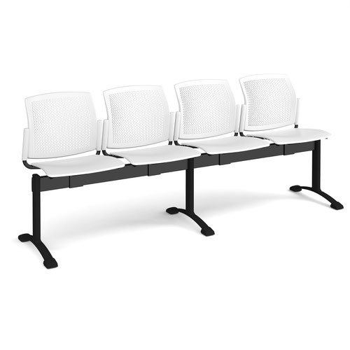 Santana perforated back plastic seating - bench 4 wide with 4 seats - white