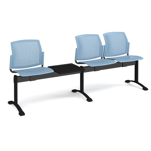 Santana perforated back plastic seating - bench 4 wide with 3 seats and table - blue