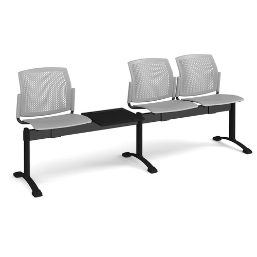 Santana perforated back plastic seating - bench 4 wide with 3 seats and table - grey