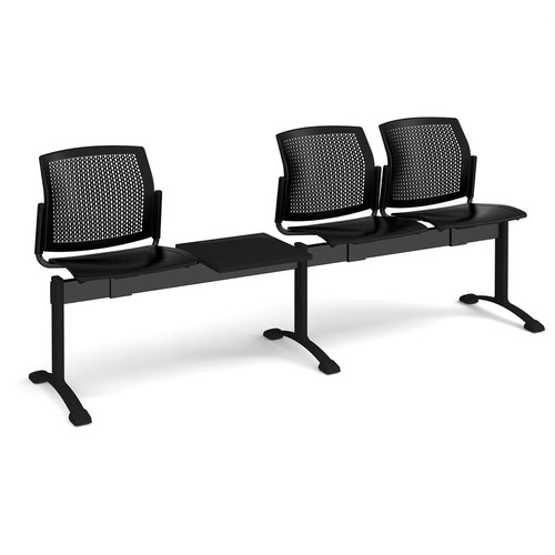 Santana perforated back plastic seating - bench 4 wide with 3 seats and table - black
