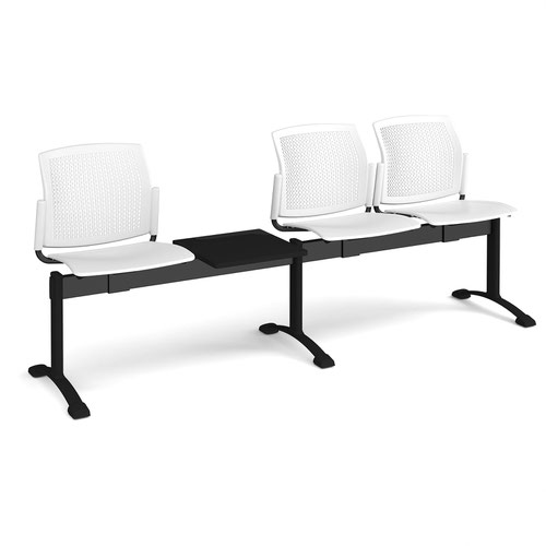 Santana perforated back plastic seating - bench 4 wide with 3 seats and table - white