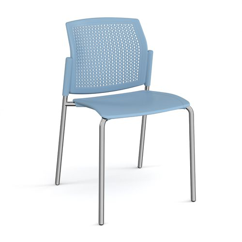 Santana 4 leg stacking chair with plastic seat and perforated back and chrome frame and no arms - blue