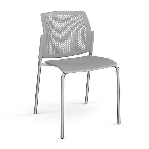 Santana 4 leg stacking chair with plastic seat and perforated back and chrome frame and no arms - grey