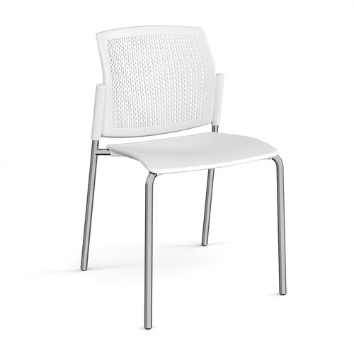Santana 4 leg stacking chair with plastic seat and perforated back and chrome frame and no arms - white