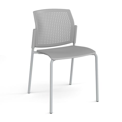 Santana 4 leg stacking chair with plastic seat and perforated back and grey frame and no arms - grey