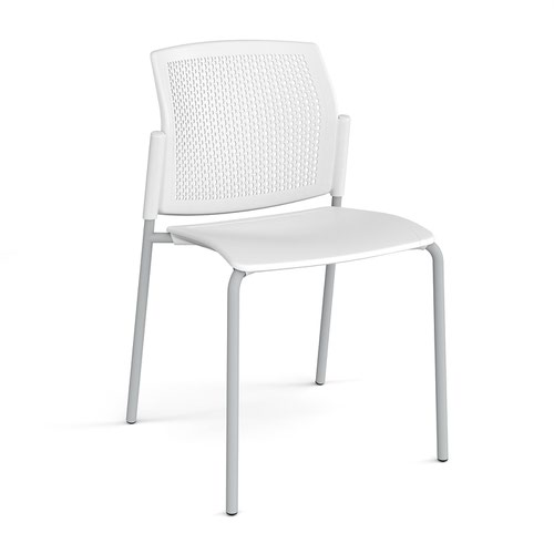 Santana 4 leg stacking chair with plastic seat and perforated back and grey frame and no arms - white