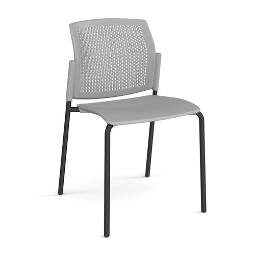 Santana 4 leg stacking chair with plastic seat and perforated back and black frame and no arms - grey